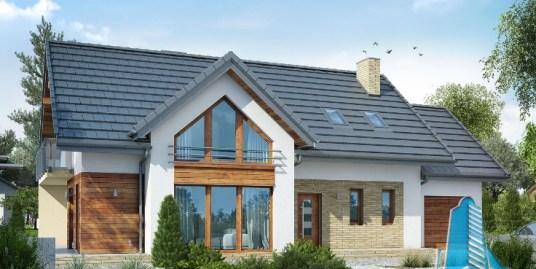 Proiect de casa cu parter, mansarda si garaj pentru un automobil-100670