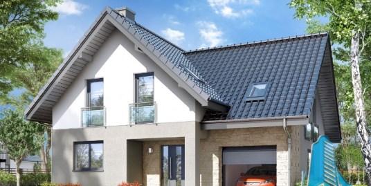 Proiect de casa cu parter, mansarda si garaj pentru un automobil-100714
