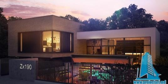 Proiect de casa cu parter, etaj si garaj pentru trei automobile-100736