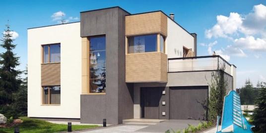 Proiect de casa cu parter, etaj si garaj pentru un automobil-100835
