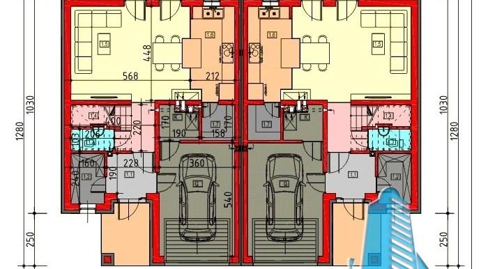 proiect de casa duplex cu parter mansarda si garaj pentru doua automobile cu terasa de vara plan etaj