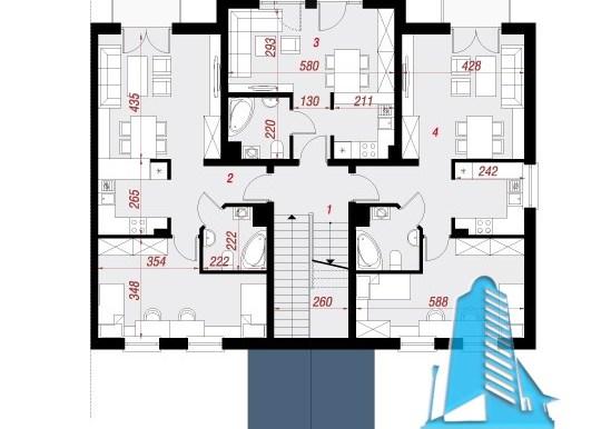 proiect de casa townhouse etaj