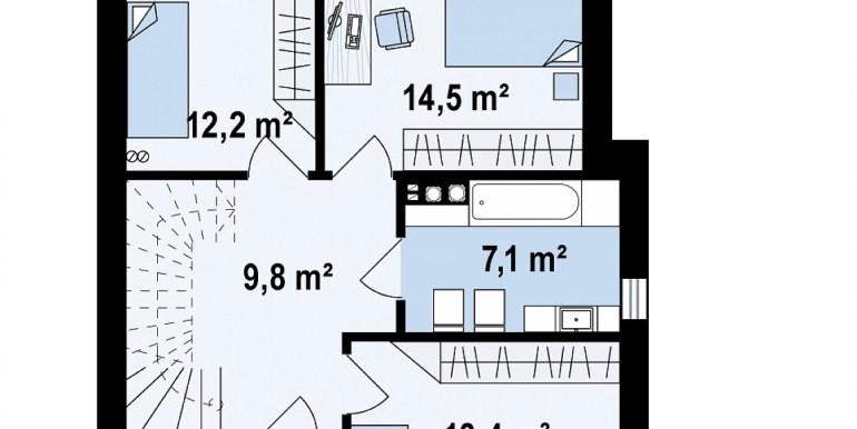 proiect de casa duplex pentru dopua familii cusuprafata pina la 150 m2 plan etaj