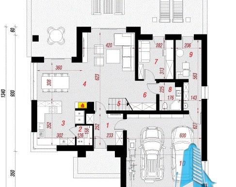план проект жилого дома с мансардой и гаражом для 2 автомобиля