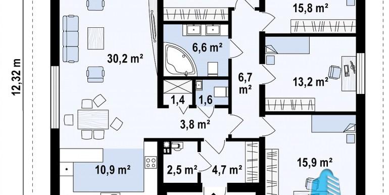 proiect de casa cu parter si acoperis din oala plan parter