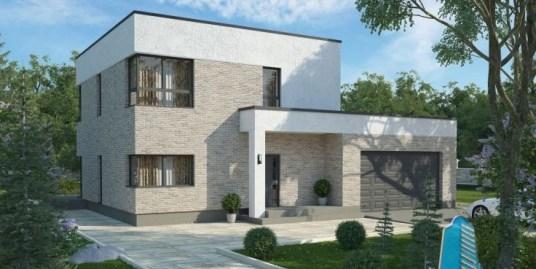 Casa cu parter si etaj cu acoperis plat si garaj pentru doua automobile-330 m2-10100