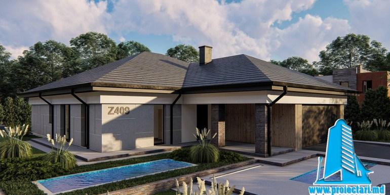 Proiect de casa cu parter si garaj pentru doua automobile