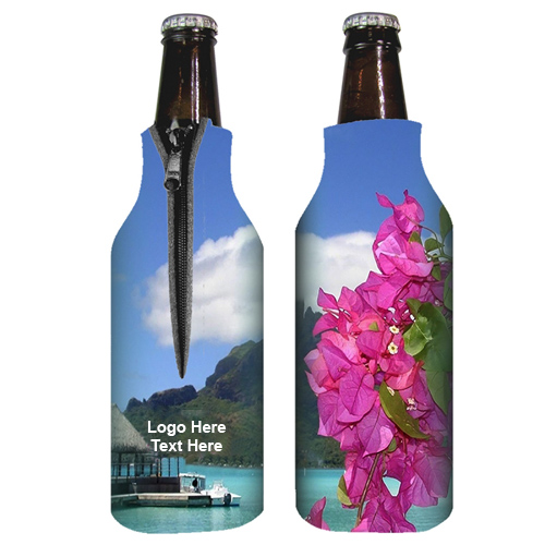 Custom Zippered Full Color Bottle Coolies  Made in USA