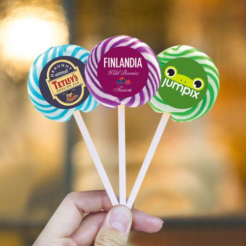Promotional Swirl Lollipop with Round Label  Holiday Gifts
