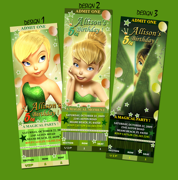 9 Designs ! TINKERBELL FAIRIES BIRTHDAY PARTY INVITATION
