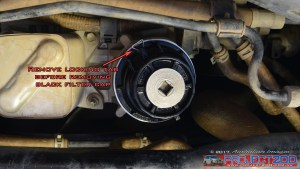Remove oil filter cap clip landcruiser 200