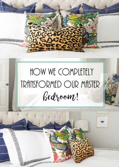 Mastern Bedroom Reveal. white bedding, black and white bedding, white curtains, Sherwin Williams Respose Gray, throw pillows, schumacher pillows, navy pillows,