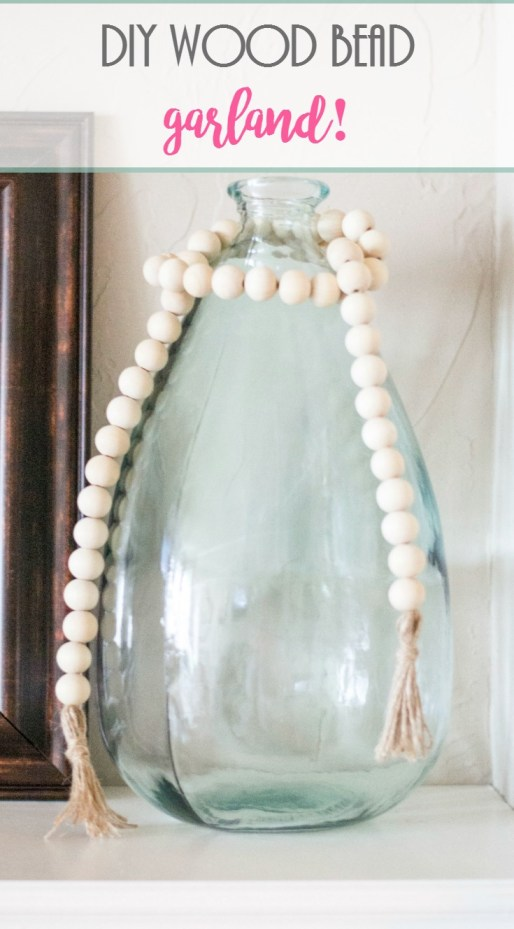 DIY Wood Bead Garland Tutorial. wood beads, twine
