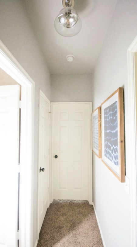 Hallway Decor. Hallway Makeover, Navy Artwork. semi flush light, Sherwin Williams Repose Gray