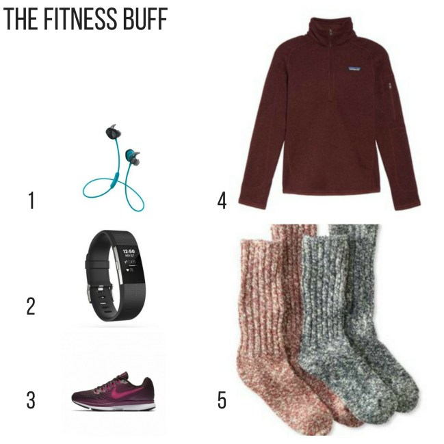 Holiday Gift Guide, The fitness buff, wireless earbuds, fitbit, nike shoes, Patagonia pullover, cozy socks,