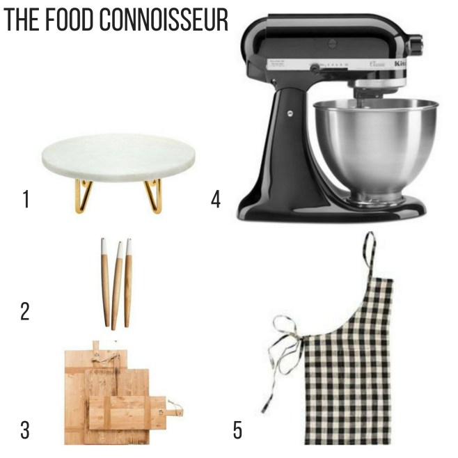 Holiday Gift Guide for the food connoisseur, marble footed stand, french rolling pins, reclaimed bread boards. check apron, kitchenaid stand mixer,