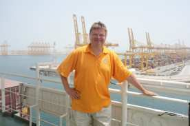 Exiting Jebel Ali finally a relief due to the immense heat at plus 47C - view from deck where daily I walked 6 rounds 5km-06