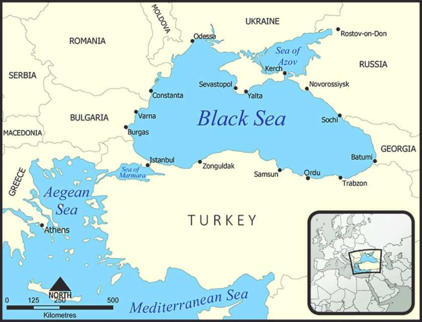 Map of the Black Sea region