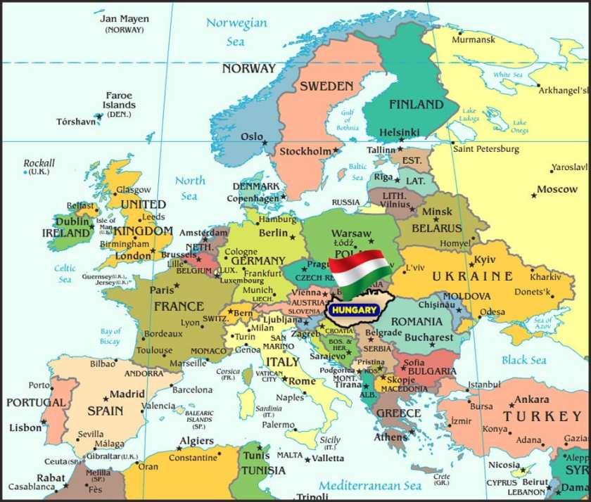 Map of Hungary in Europe