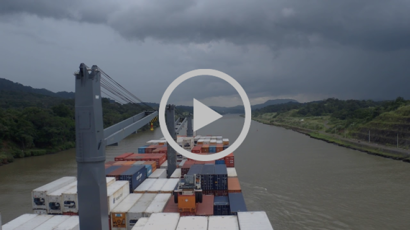 Moving along the Panama Canal in rainy weather