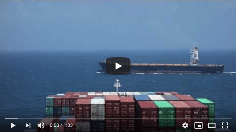 Drifting while waiting for a berth in Qingdao with an empty PIL container vessel passing close by. Footage from CMA CGM Andromeda.
