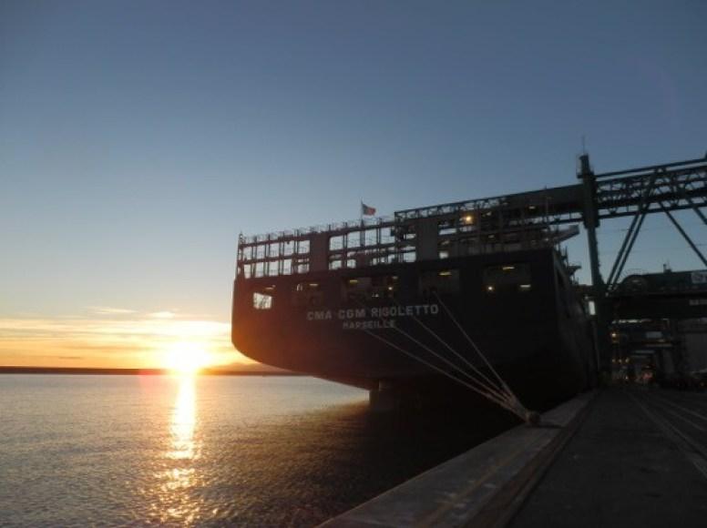 Morning sunrise near Genoa onboard CMA CGM Rigoletto at La Spezia, Italy