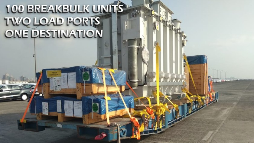 100 breakbulk units; two load ports; one destination