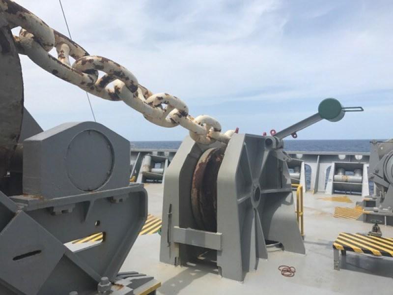 Anchor chains at the bow of CMA CGM Andromeda