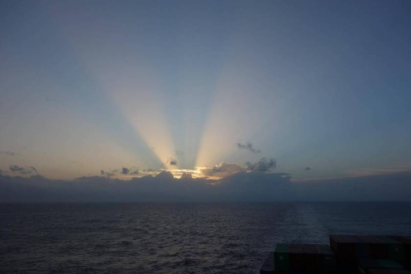 This picture was taken during sunset on the Indian Ocean.