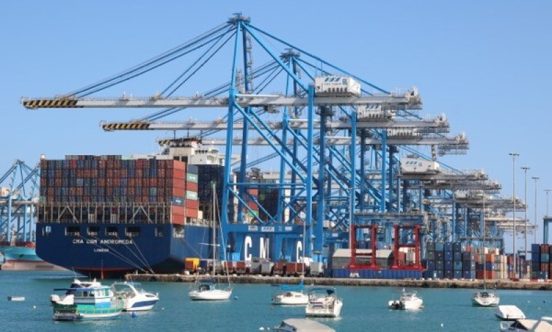 Yachts and container ships at Malta Freeport