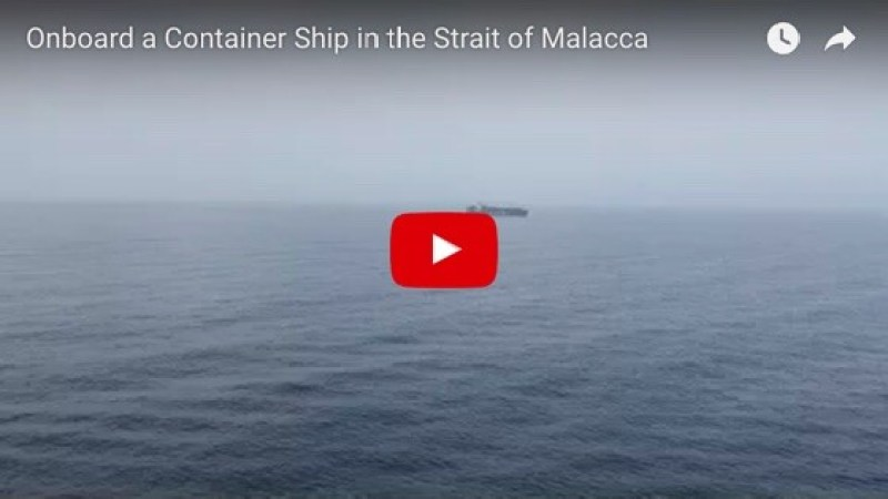 Steaming ahead in the Strait of Malacca with Indonesia on the starboard side and Malaysia to port, although it can't be seen through the morning haze