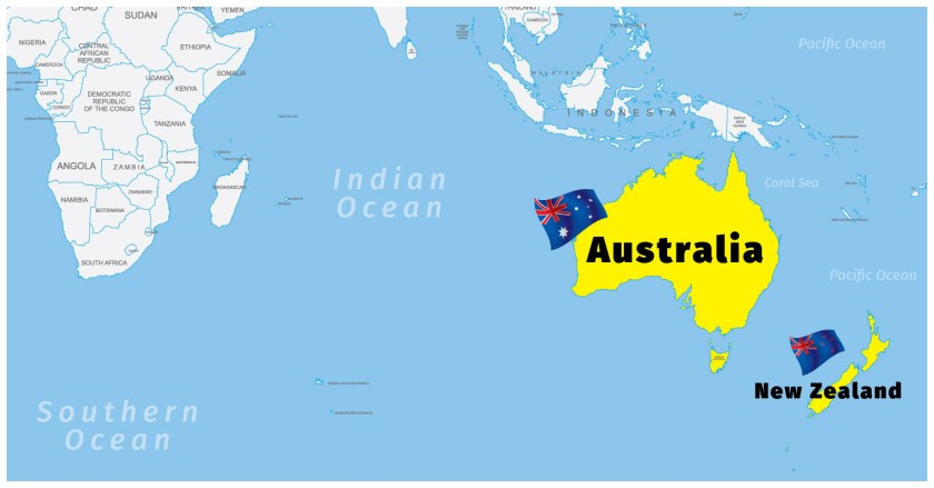 Map of Australia and NZ