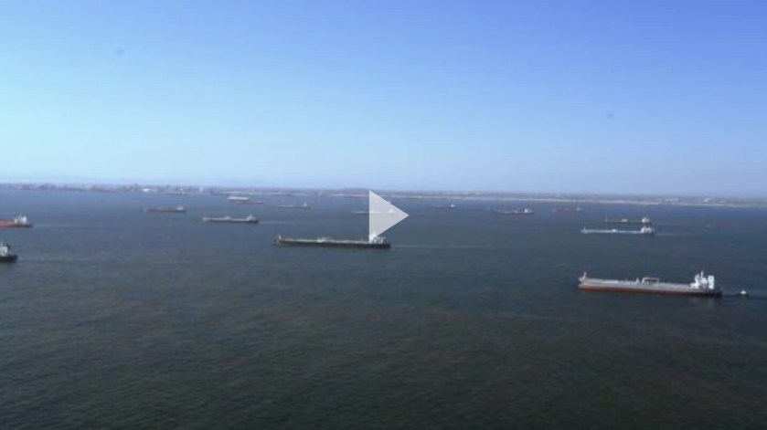 Oil Tankers at anchor in Southern California - Video