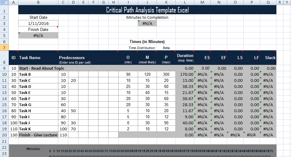 critical path excel template