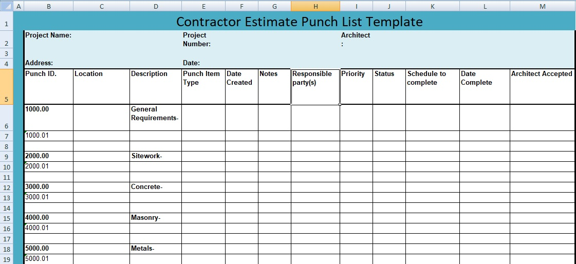 Here is how they all stacked up. Construction Project Punch List Template Free Download