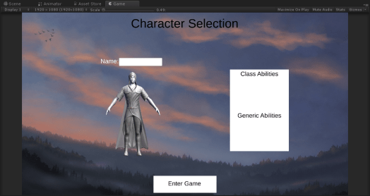 A much earlier version of the character selection screen.