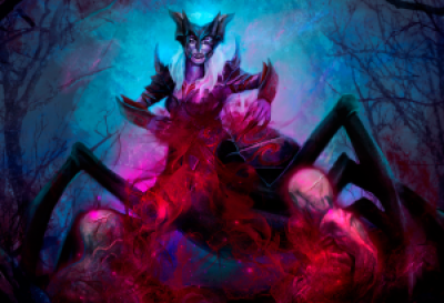 Digital painting of a humanoid spider (Zentragals) in a dark forest