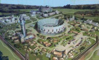 Concept art of a fantasy settlement