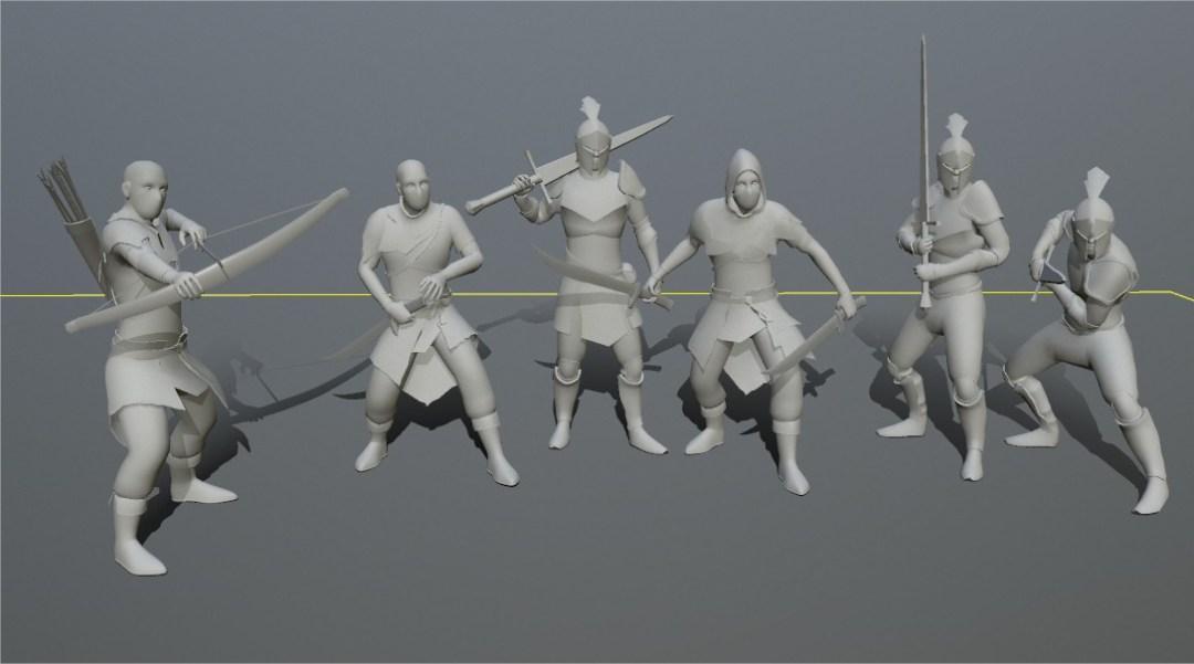 Grey 3D models of human knights and bandits