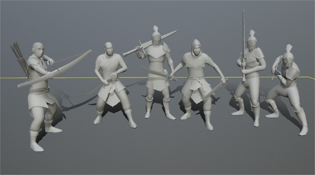Grey 3D models of human knights and bandits