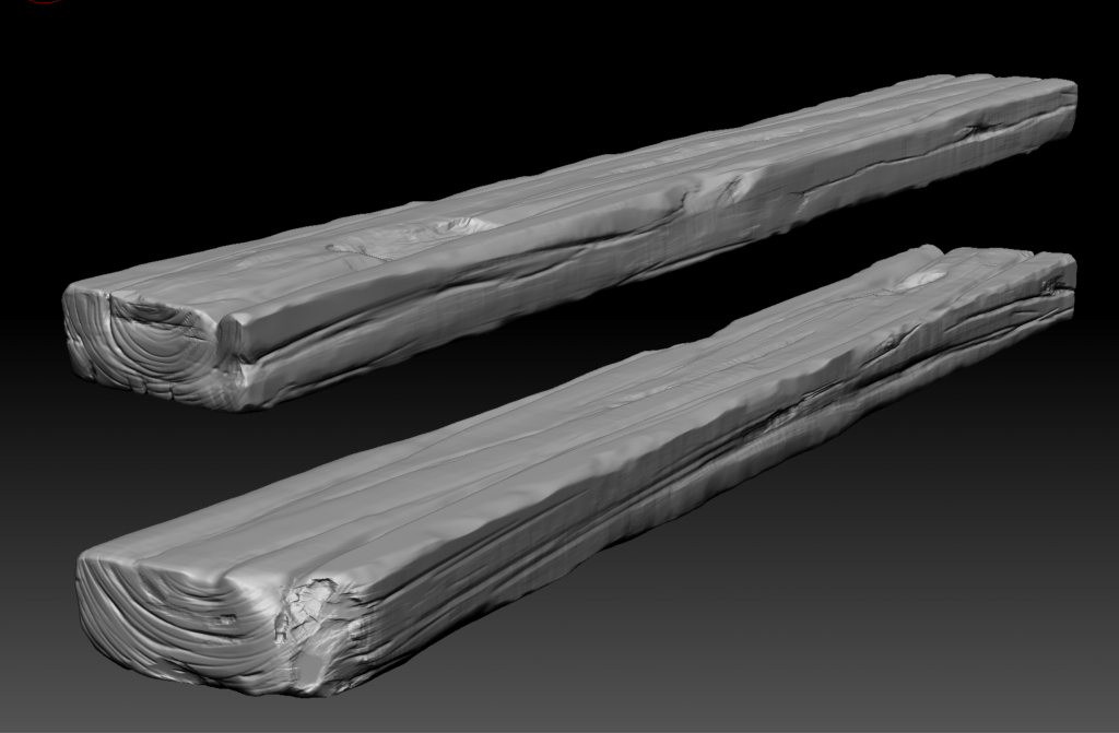 Black and white 3D render of 2 planks of wood