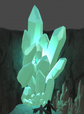 3D model of huge turquoise crystals glowing in the corner of a wall