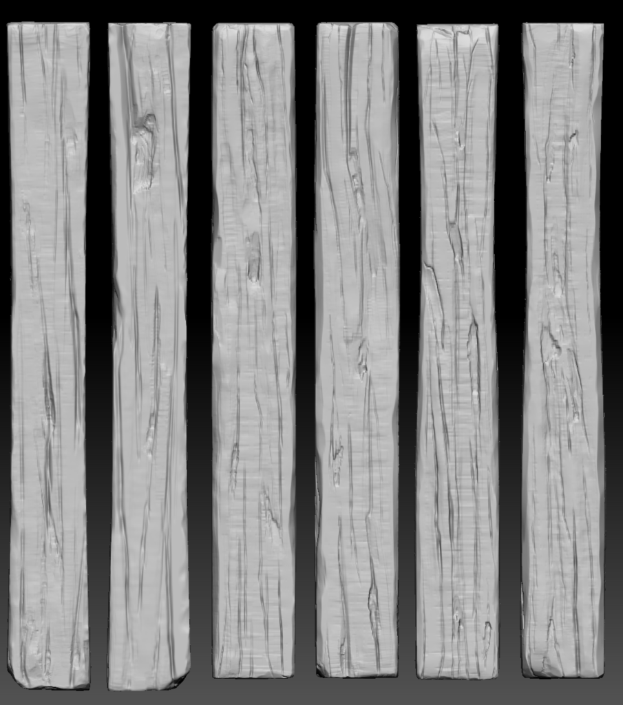 Black and white 3D render of 6 planks of wood