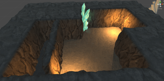 3D dungeon with glowing green crystals
