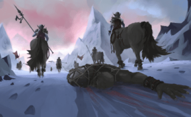 Concept art of centaurs dragging bleeding person through mountain path.