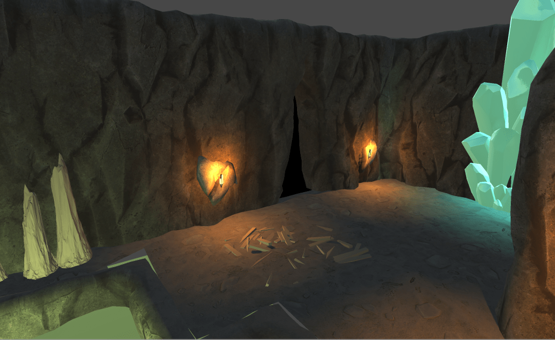 3D render of cave with torches on the wall and crystals in the corner