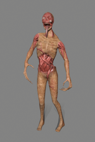 3D zombie model on grey background