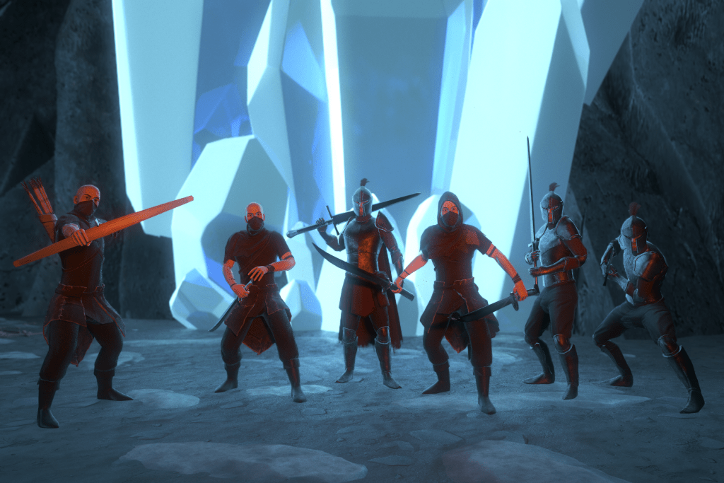 3D render scene of group of bandits in front of giant blue crystals