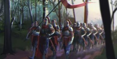 Concept art of human knights marching through forest