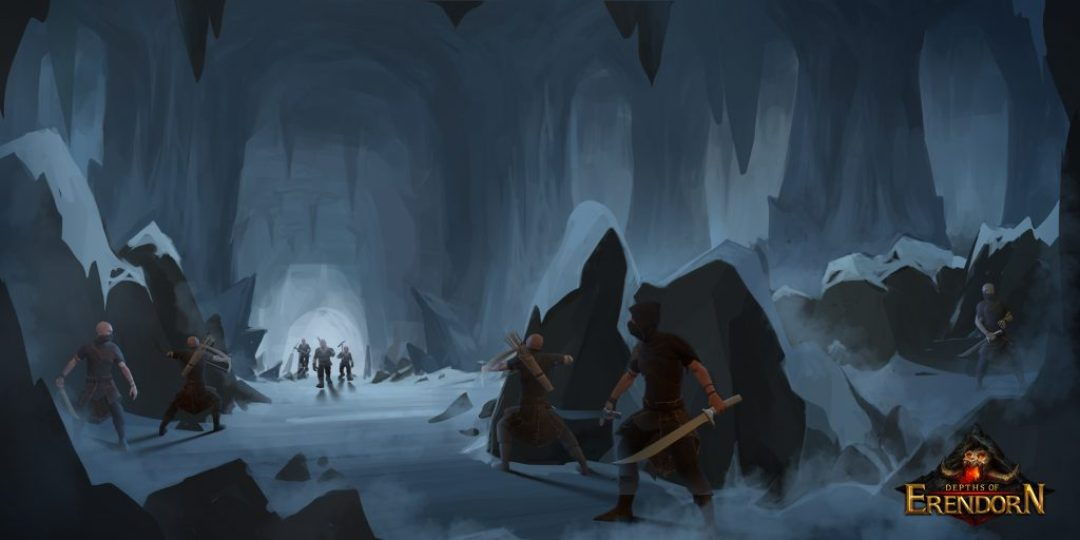 Concept art of an ice cave with bandits hiding behind rocks